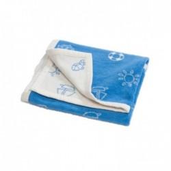 Blanket - Hippychick  - 100% Cotton Fleece Pram Blanket - Blue Marina - sale