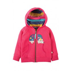 Hoody - Frugi Hayle Hoody - Raspberry/Hedgehog 3-6m - last one in sale