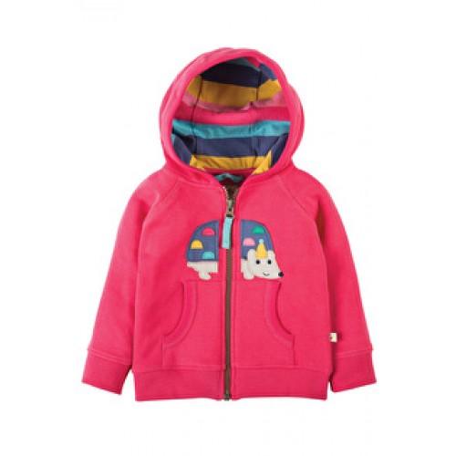 Hoody - Frugi Hayle Hoody - Raspberry/Hedgehog 3-6, 6-12,  2-3y-  sale