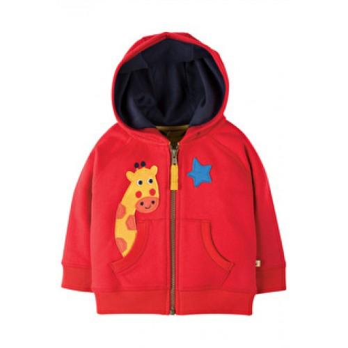 Hoody - Frugi Hayle Hoody -Tomato/Giraffe 3-6, 6-12, 2-3y - sale