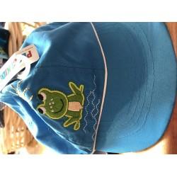 Sun hat - Pesci Kids - Blue frog - basic - Legionnaire style cap  - 3-6 - last item 45 off clearance sale
