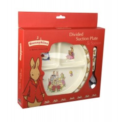 Gift - Bunnykins Bunnies Divided Suction Plate and Spoon Set