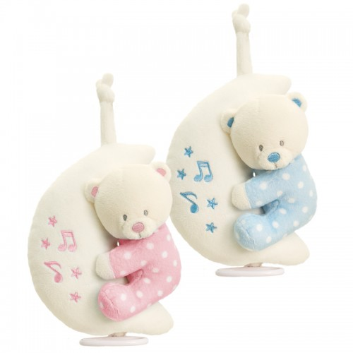 Toy -  Baby Teddy Bear on Musical Moon  - pink or blue (2x of each)
