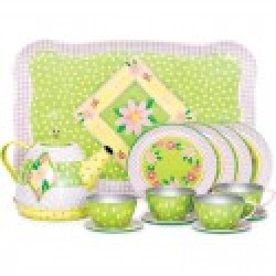 Toy - Children's Tin Tea Set with a tray, teapot and four plates, cups and saucers  - Green and yellow