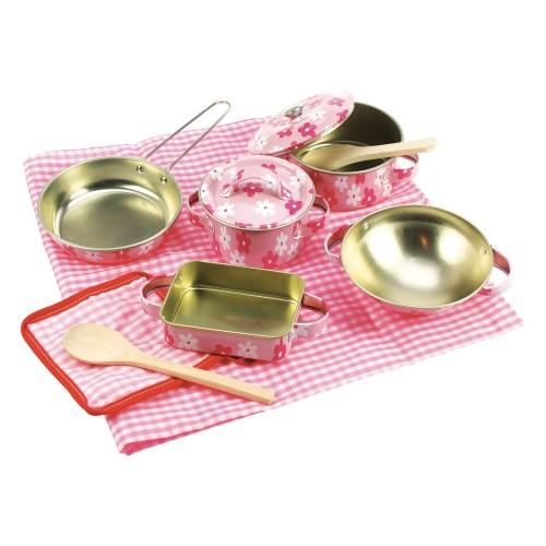 Toy - Bigjigs Toys -  Pink Kitchenware Set (11 Pieces)
