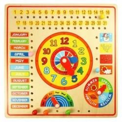 Toy - Children's Wooden Calendar and Clock
