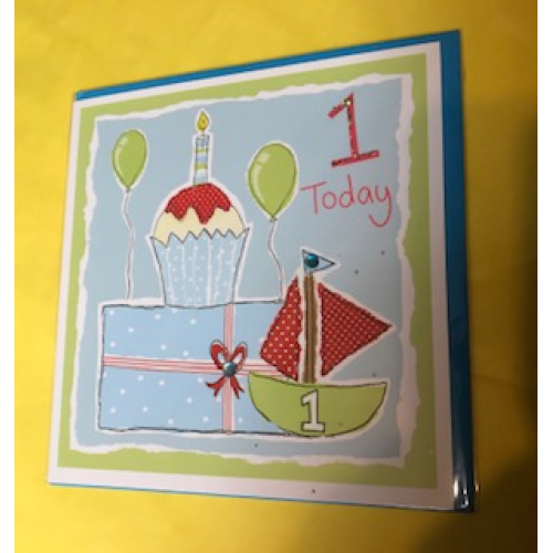 CARDS - 1 today - blue cupcake , cake slice and boat - sale