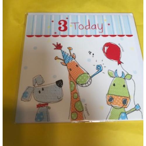 CARDS - Birthday - 3 Today - Hurrah - Animals - sale
