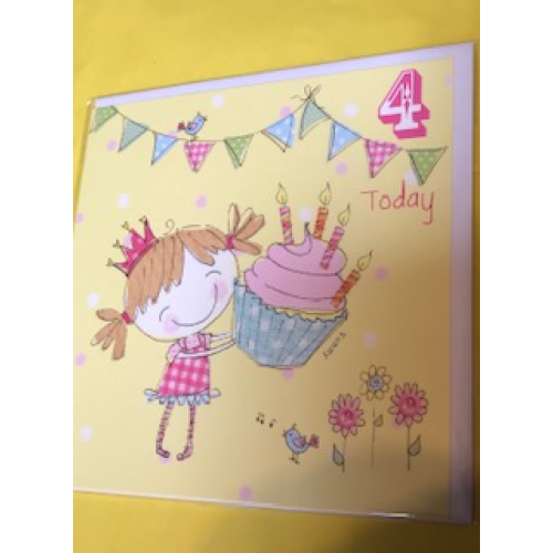CARDS - Birthday -  4 today  - yummy cupcakse and girl - sale