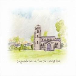 GIFT - Card - Christening Card - Village Church Scene - handmade