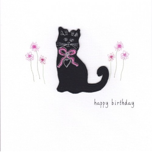 GIFT - Card -  Birthday Card - Black Cat - handmade