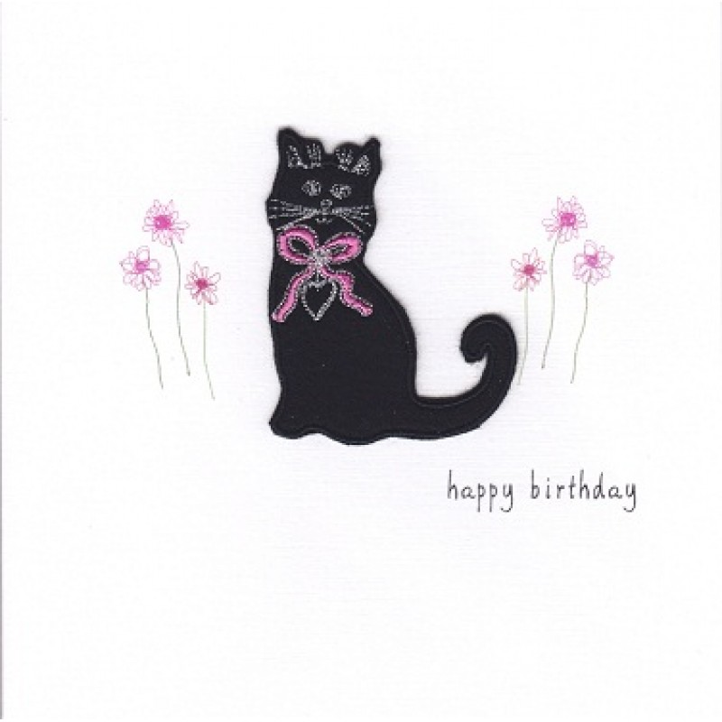 Gift Card Birthday Card Black Cat Handmade