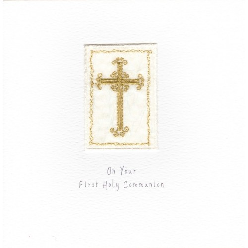 GIFT - Card - Holy Communion - Silver Thin Cross -  handmade