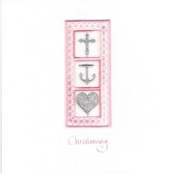 GIFT - Card - Christening Card - Faith, Hope & Charity -  pink - handmade