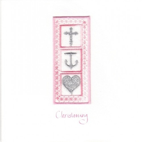 GIFT - Card - Christening Card - Faith, Hope & Charity -  pink - handmade