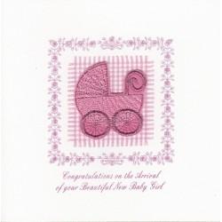 GIFT - Card - New baby card - Large Pink Pram - handmade