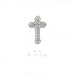 GIFT - Card - Christening Card -Silver Leaf Cross - handmade