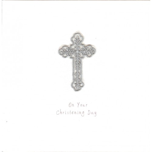 GIFT - Card - Christening Card -Silver Leaf Cross - handmade