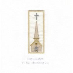 GIFT - Card - Christening Card - Tall Church - handmade