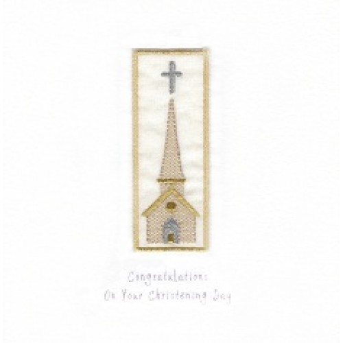 GIFT - Card - Christening Card - Tall Church - handmade