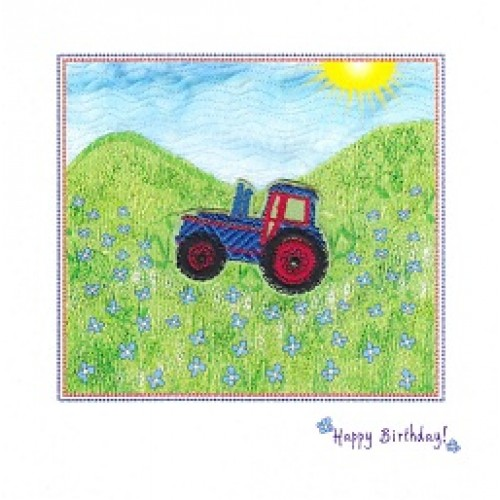 GIFT - Card - Birthday Card - Tractor , Train or Plane  in the hills - handmade