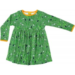 Dress -  DUNS - Snowdrops dark green - long sleeve with gather skirt - 86 (12-18m) , 92 (18- 24m)  - sale