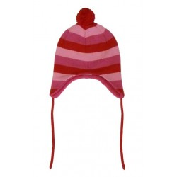 Hat - Toby Tiger fleeced lined pink red multi striped hat