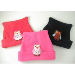 Hat - Fleece Owl - Pink