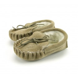 Moccasins - Baby Moccasins with Collar - Beige  - 6-12, 12-18, 18-24m