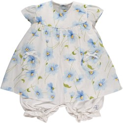 Emile et Rose - Dress/Romper - Emmy blue flowers - 3m - sale