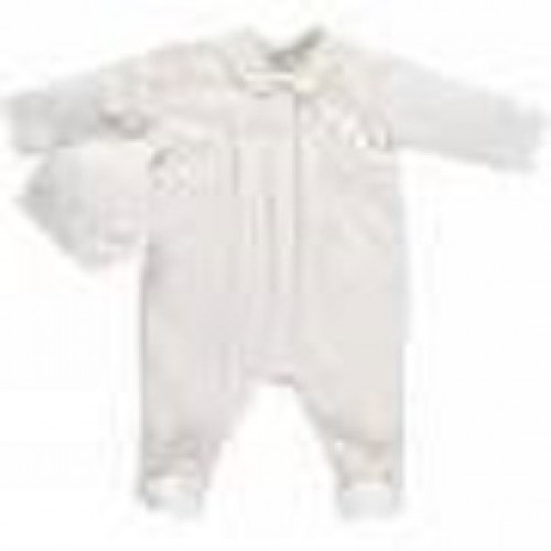 Emile et Rose - Babygrow with tripple pleat and hat - white - last one in NB - now in sale