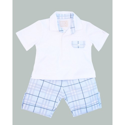Emile et Rose - Rugby top and printed check linen shorts - set 5285  - last in sale - 3 m