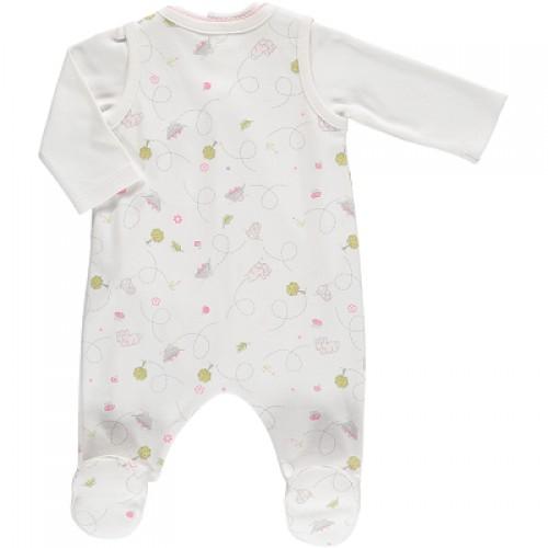 Emile et Rose - Dotty babygrow - Pale pink - 1m
