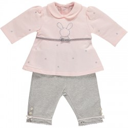 Set - Top with bunny emb & Trousers, lace & ribbon in SALE - 12m sale
