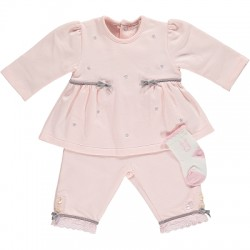 Emile et Rose - Set - BFT Top with grey daisy emb and trouser. sock
