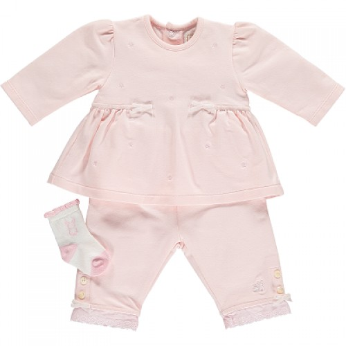 Emile et Rose - Set - BFT Top with pink daisy emb and trouser. sock - 1m  - sale