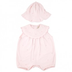Emile et Rose  - Enya - Embroidered Playsuit  Romper incl  Hat - Enya - 1m