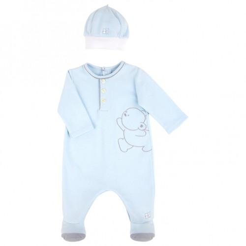 Emile et Rose - Everett - Teddy Bear Sleepsuit & Hat, Blue - NB, 1m, 6m