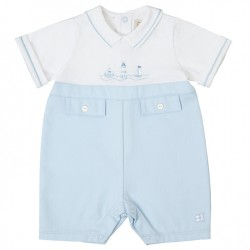 Emile et Rose - Hudson Nautical Playsuit, Blue/White - 12m - sale