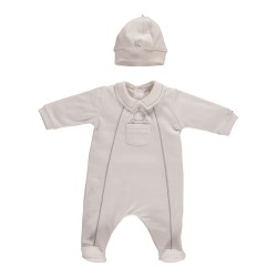Emile et Rose - Hank- Babygrow with pocket and hat- WHITE  - NB, 1m, 3m - sale
