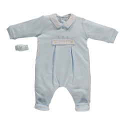 Emile et Rose - Babygrow - Hayden AIO with Wrist Rattle, Pale Blue - 3m,