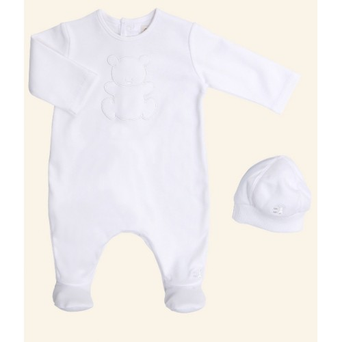 Emile et Rose - White Unisex All in One with Hat - 3m