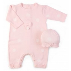 Emile et Rose - True Knit All in One with spots, emb bunny applique and Hat