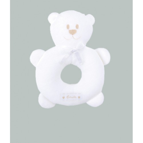 Emile et Rose - Rattle - White Velour Teddy - not in sale