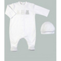 Emile et Rose - Interlock All in One , fading teddies emblem , Hat - WHITE  - prem baby, 3m