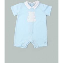 Emile et Rose - Blue Jersey Romper, with collar & Teddy applique - 3m