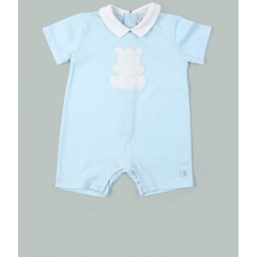 Emile et Rose - Blue Jersey Romper, with collar & Teddy applique - 3m