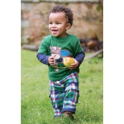 Trousers -  Frugi Checked Snugs - green bottle check (TRA404)  - SALE - 0-3 m last one