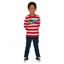 Top - Discovery Applique Top - Red Stripe Car 3-4,