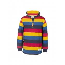 Jumper - Frugi Half Zip - Multistripe - 7-8, Sale last one